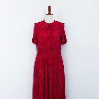 Banana Flyin Vintage :: More Dotted Red :: Vintage Dress with Short Sleeve