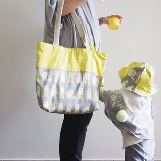 Handmade polar bear canvas tote bag and baby/ kid hat gift set
