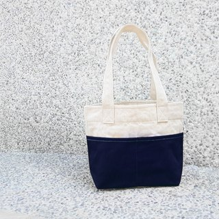 Thick Canvas Color Matching Double Pocket Handbag (Shoulder Bag / Tote Bag) - Dark Blue