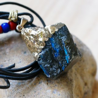 Labradorite  Raw Stone Leather Necklace