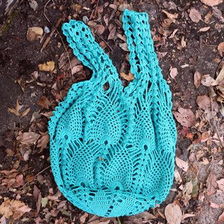 Handmade - fine mesh hand woven bag - cotton rope bag / fishing net bag / green bag