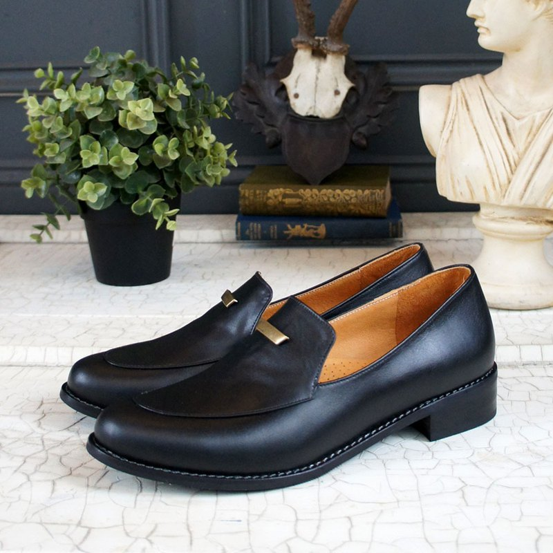 GT full leather gentleman loafers - black