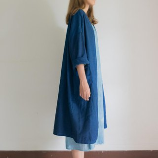 Midnight Vibes | Natural Linen deep blue dye indigo | Long Jacket