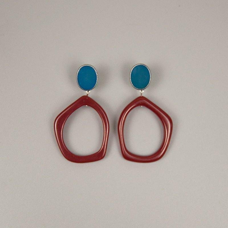 Blue and Burgundy Square Earrings