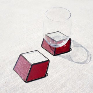 Positive and negative space - hexagon red coaster home pad pendant glass mosaic