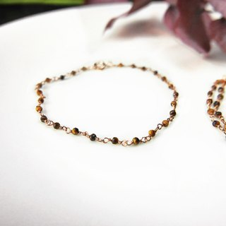 【Lalune】 Tiger Eye Rose gold and silver bracelet