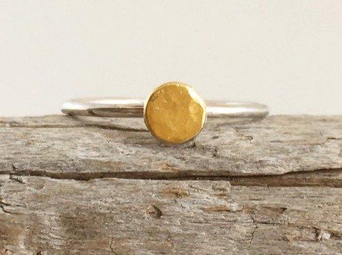 滿月◇K24純金+銀戒指◇純金+銀+滿月戒指