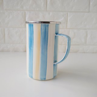 Sky Blue Striped 珐琅 Mug | 650ml