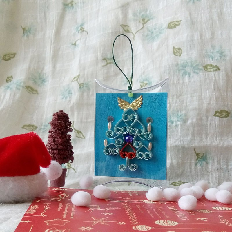 Handmade paper roll Christmas card holder light blue short box