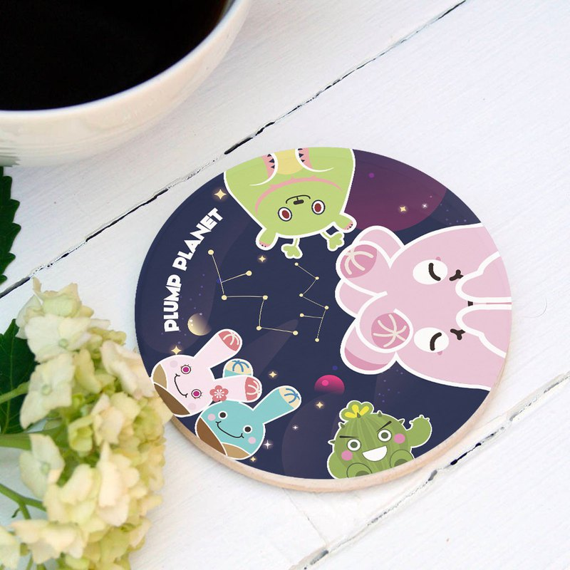 【Plump Planet Friends】Ceramic Coasters | Galaxy Planet