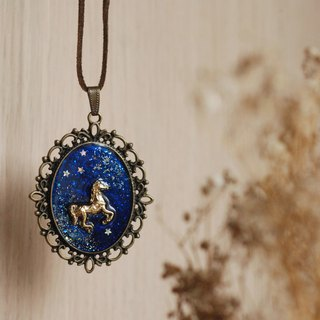 Sky painted pony necklace