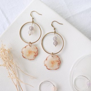 Flower collection book handmade earrings - autumn poetry gray agate can be changed