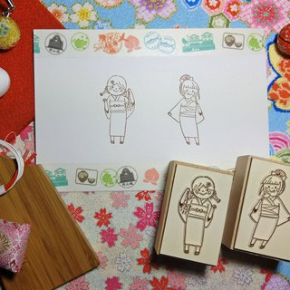 【Log Stamp】Summer Fireworks Yukata Girl Group-A