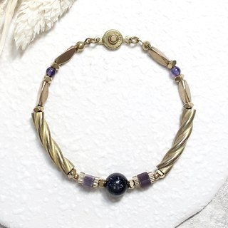 ♦ VIIART ♦ Philosopher ♦ Cat's Eye Blue Bluestone Brass Bracelet