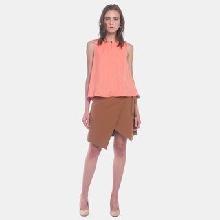 Paneled Top W Back Pleats (Coral)