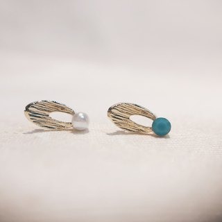 Small round blade - jade green ear ear earrings [can be changed ear clip]