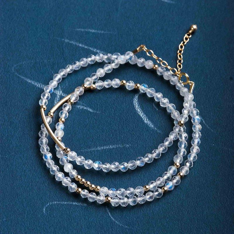 月光石三圈14KGF手鍊 | 14K包金天然水晶手鏈客製禮物 | 極細系列