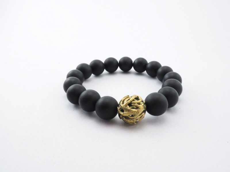 Horn bead 12 mm.matte black agate stone bracelet in brass ,men jewelry