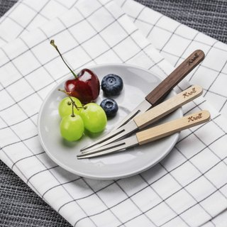New listing [KROLL] titanium household wooden handle fruit fork (3 in)