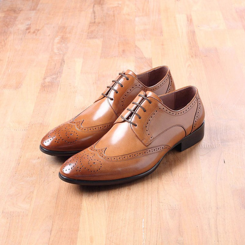 Vanger handmade winged carved tipped derby shoes Va226 Brown