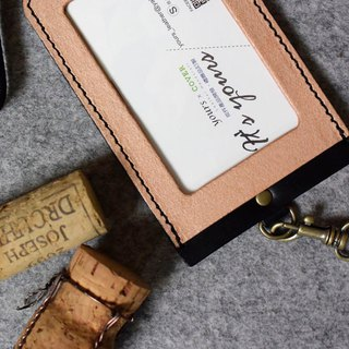 YOURS Straight Document Holder (with Necklace Ribbon) Cork Leather + Personality Black Leather
