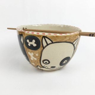 Nice Little Clay handmade bowl _ cute dog black wheel dog hyena 0201-04