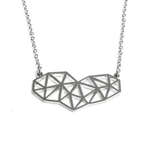Abstract polygon heart necklace