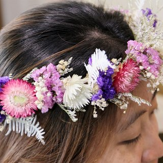 Flowers and flowers - pink and purple drying head flower drying wreath wedding props