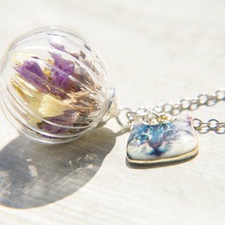 Valentine's Day gift / Department of Forestry / French dried flower glass necklace clavicle short chain long chain - purple + lilac + lavender + yellow + Qingren Cao cat