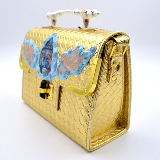 Gold embossed angel religious wind pattern handbag with vintage metal handle