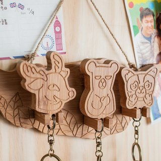 [Christmas gifts] Taiwan national treasure family (black bear, stone tiger, sika deer) / / key ring hanging version of the key holder key ring home waiting for you to go home for dinner