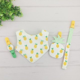 Small pineapple. Shape safety bag + pacifier chain + handkerchief clip + bib (fudable bag can be increased by 40 embroidered name)