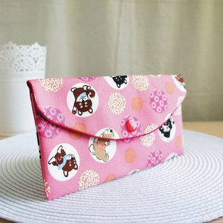 LovelyQ version [Vibrant Shiba Inu red bag] passbook set, cash storage bag, pink E