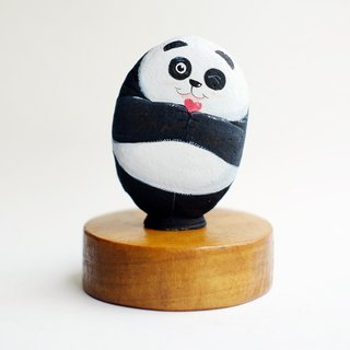 Panda with heart stone painting original art.