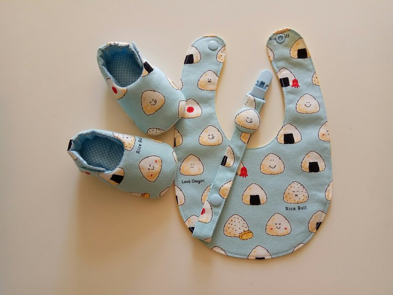 Onigiri Kid Moon Gift Baby Shoes + Baby Bib + Pacifier Clip