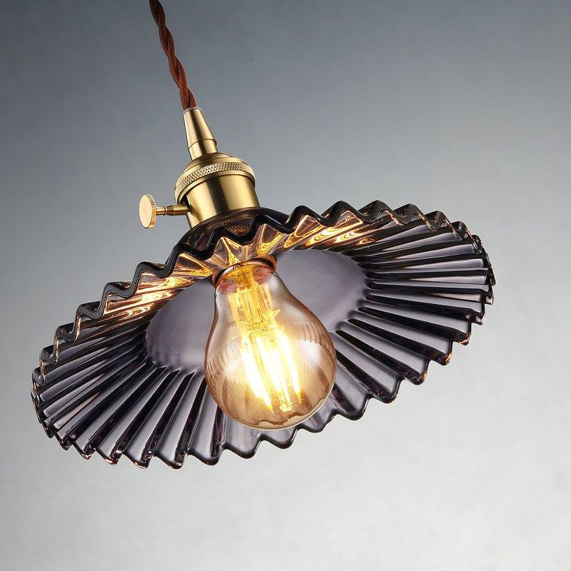 【塵年舊飾】懷舊銅製玻璃吊燈PL-1656附燈泡