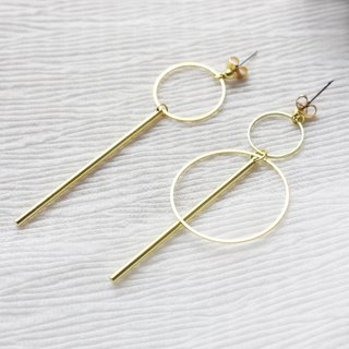 geometry. Simple double-circle brass long earrings NO.2