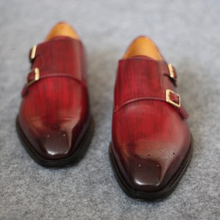 Hand rub color - carved double buckle Munchi shoes