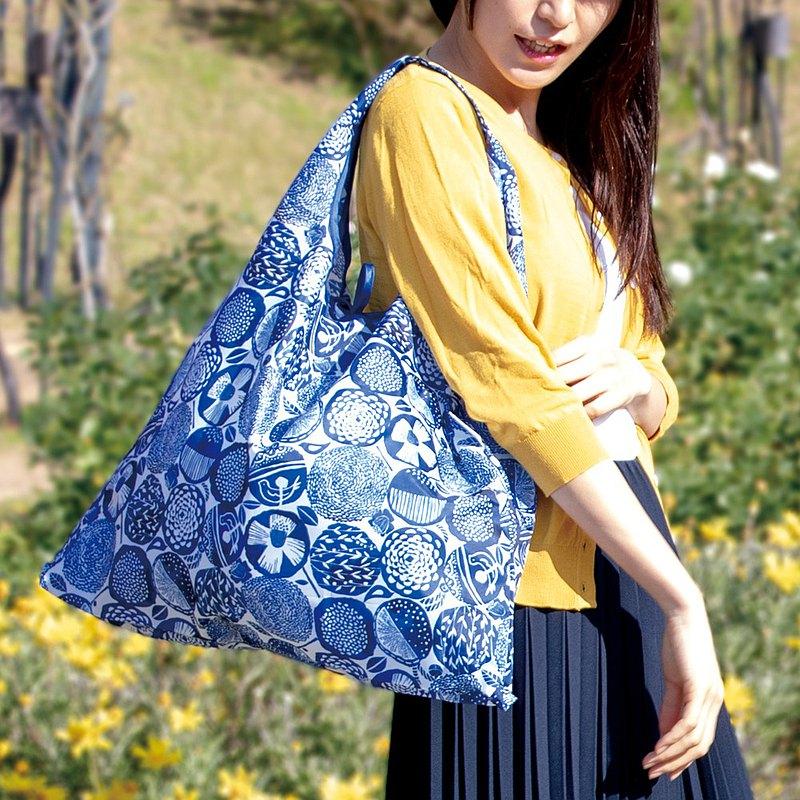 日本 Prairie Dog 設計包/環保袋/購物袋/手提袋 - 藍色大麗花