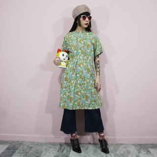 (Vintage dress) Prairie flowers cloth Japanese vintage dress (birthday gift) F3240