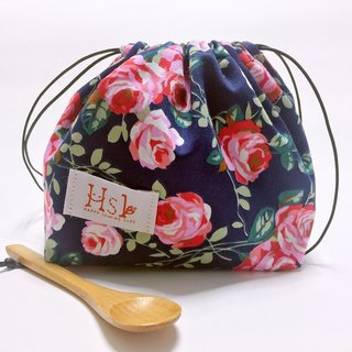 【DIY material package】 teaching kit Lunch box bag rope bag Drawstring Shouwan Dai pocket hand-stitched British Rose