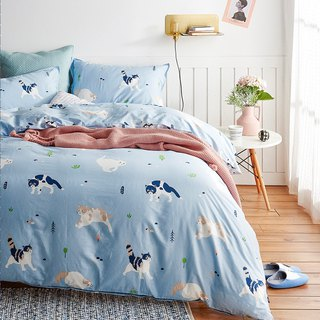 Moving pillowcase + quilt cover two-piece single double original hand-painted cat 40 cotton bed bag optional