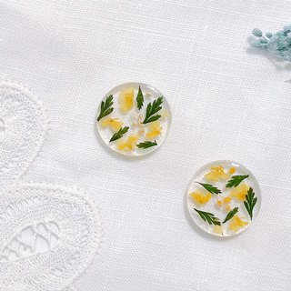 Season flower series - autumn yellow flower hand made dry flower embossed ear ear / ear clip