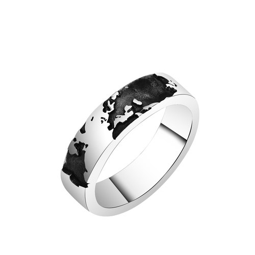 Custom Ring Our World Our World World Map - Northern Hemisphere Sterling Silver Ring (Ring One) -64DESIGN Silverware