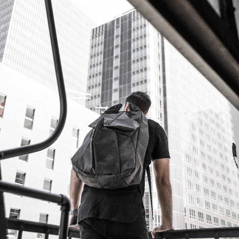 ORIBAGU Origami Pack _ Black Camo Rhino Backpack _ Small