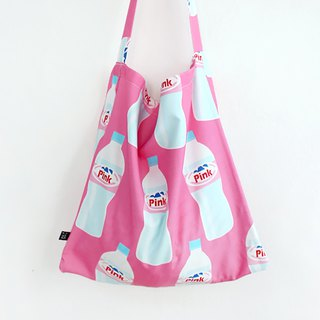 Pink water bottle side back eco bag canvas bag large storage