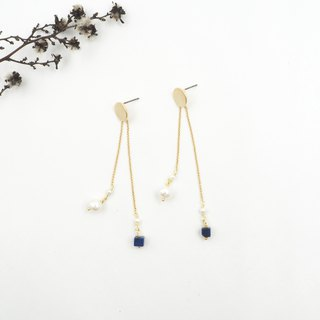Design section. Lapis Lazuli Adjustable Long and Short Steel Earrings