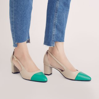 Elegant micro-tip! Tiramisu two-tone shoes with green × rice full leather MIT cool mint