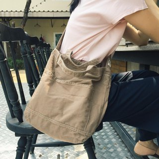 New Brown Little Canvas Tote / Weekend bag / Shopping bag