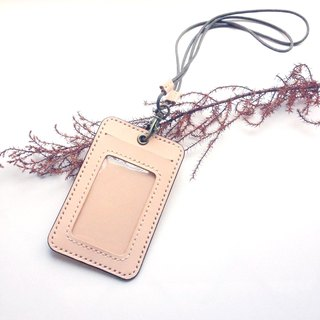Double card ID set + black leather neck rope vegetable tanned primary color credit card student ID access card MRT card